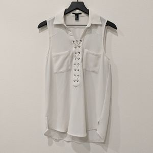 EUC lace up collared sleeveless shirt